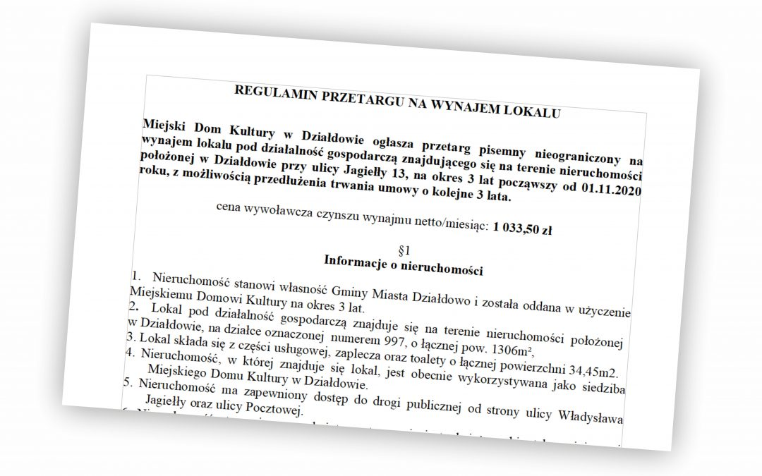 Przetarg pisemny nieograniczony na wynajem lokalu pod działalność gospodarczą znajdującego się na terenie nieruchomości położonej w Działdowie przy ulicy Jagiełły 13
