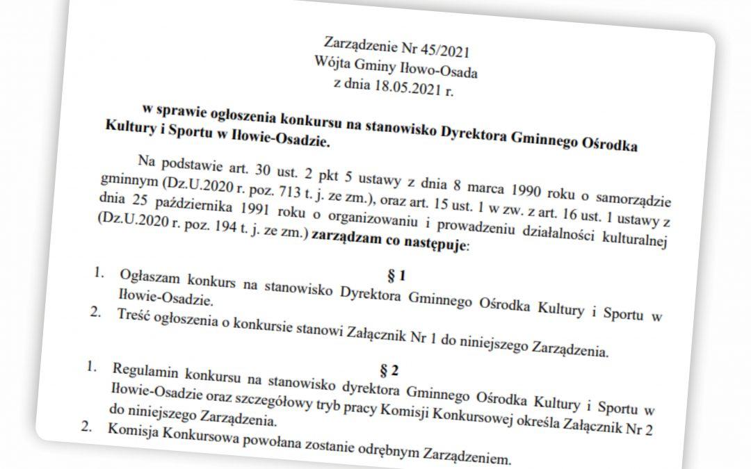 Jest praca. Konkursu na stanowisko Dyrektora Gminnego Ośrodka Kultury i Sportu w Iłowie-Osadzie